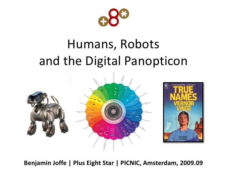 Humans, Robots      and the Digital Panopticon     Benjamin Joffe | Plus Eight Star | PICNIC, Amsterdam, 2009.09