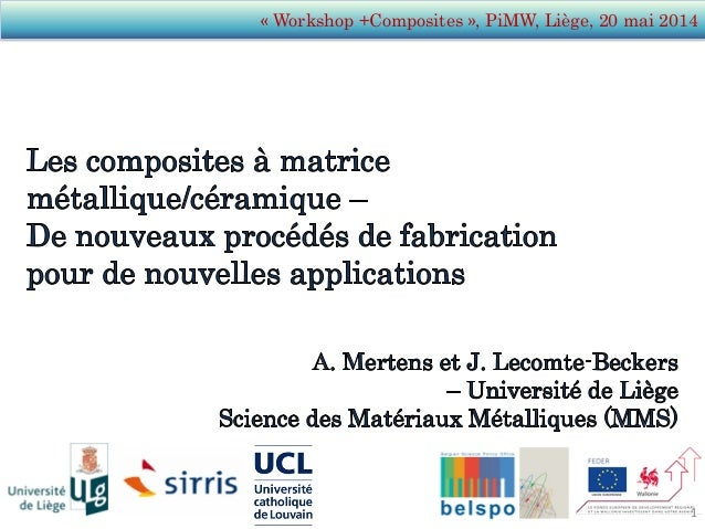 « Workshop +Composites », PiMW, Liège, 20 mai 2014 1