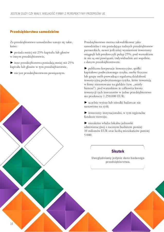 14 Przedsiębiorstwa samodzielne Za przedsiębiorstwo samodzielne uznaje się takie, które: ► posiada mniej niż 25% kapitału ...