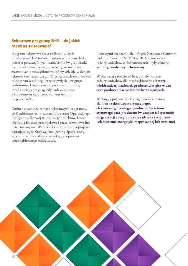 20 Sektorowe programy B+R – do jakich branż są skierowane? Programy sektorowe służą realizacji dużych przedsięwzięć badawc...