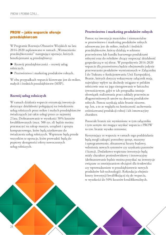24 PROW I PORIM CZYLI… PROW – jakie wsparcie oferuje przedsiębiorcom W Programie Rozwoju Obszarów Wiejskich na lata 2014-2...