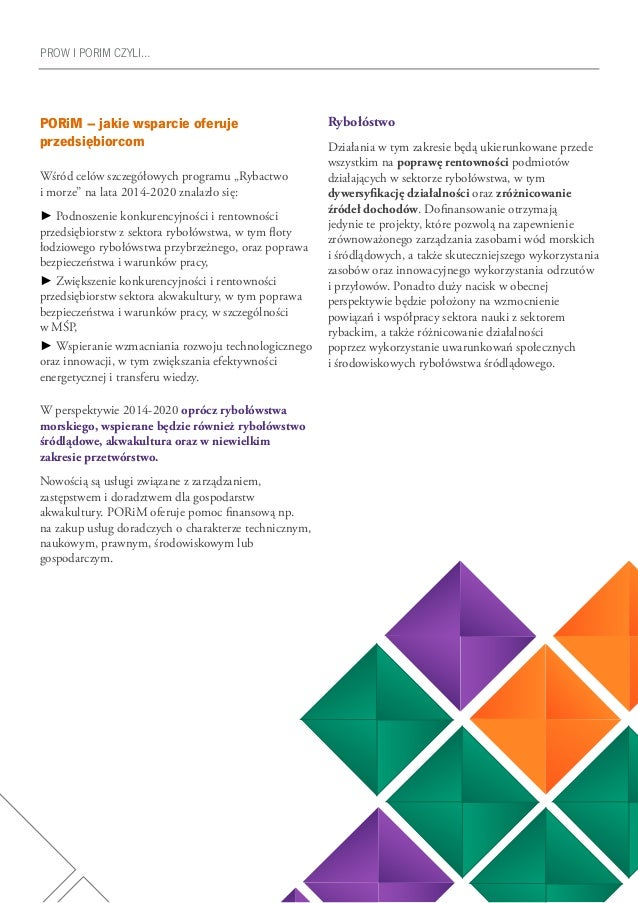 """25 PROW I PORIM CZYLI… PORiM – jakie wsparcie oferuje przedsiębiorcom Wśród celów szczegółowych programu """"Rybactwo i morze..."""