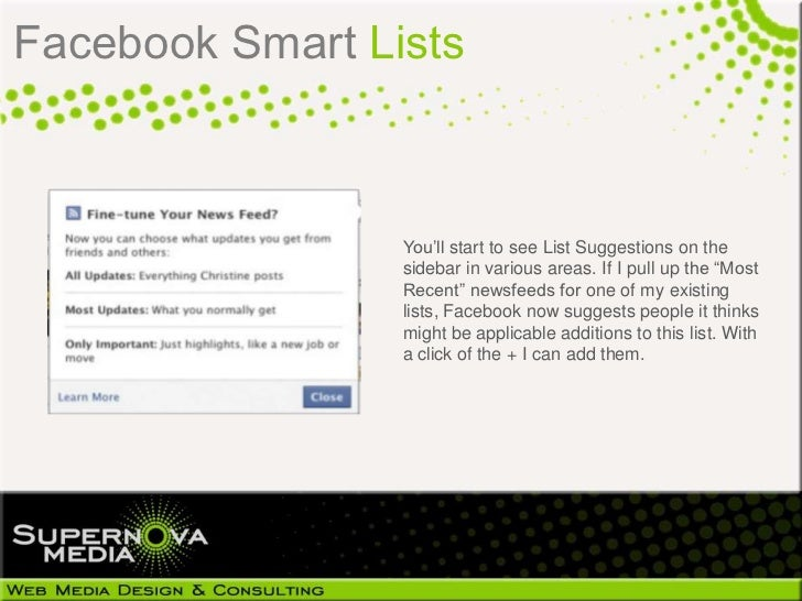 how to delete smart lists on facebook