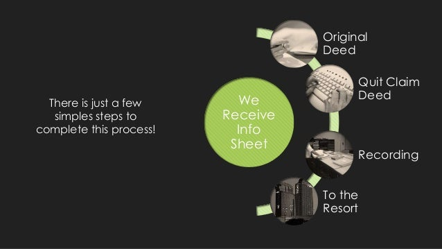 There is just a few simples steps to complete this process! We Receive Info Sheet Original Deed Quit Claim Deed Recording ...