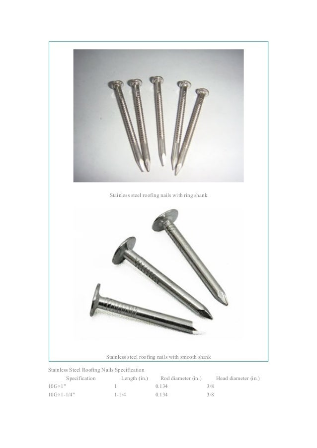 Stainless Steel Roofing Nails ...