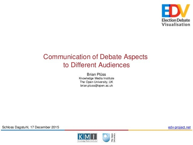 Communication of Debate Aspects to Different Audiences Brian Plüss Knowledge Media Institute The Open University, UK brian...