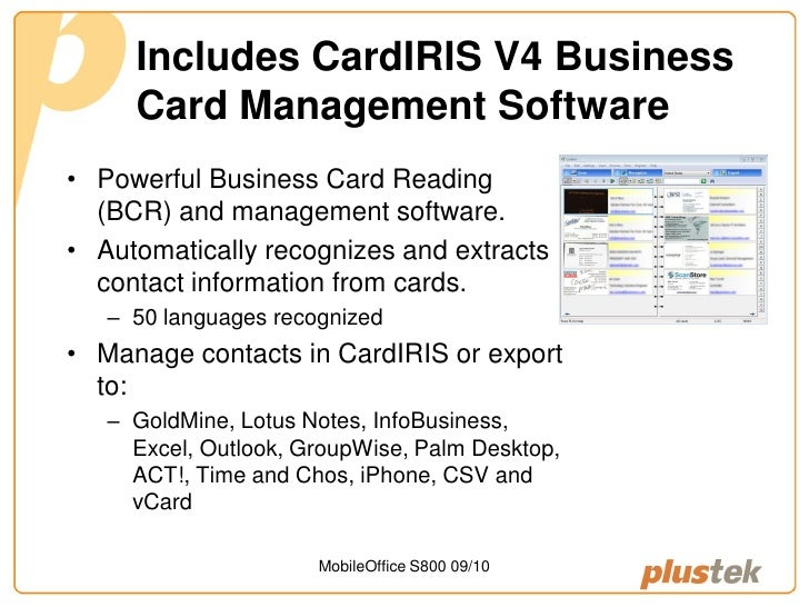 Plustek mobileoffice s800 business card scanner 4 includes cardiris v4 business card management software colourmoves