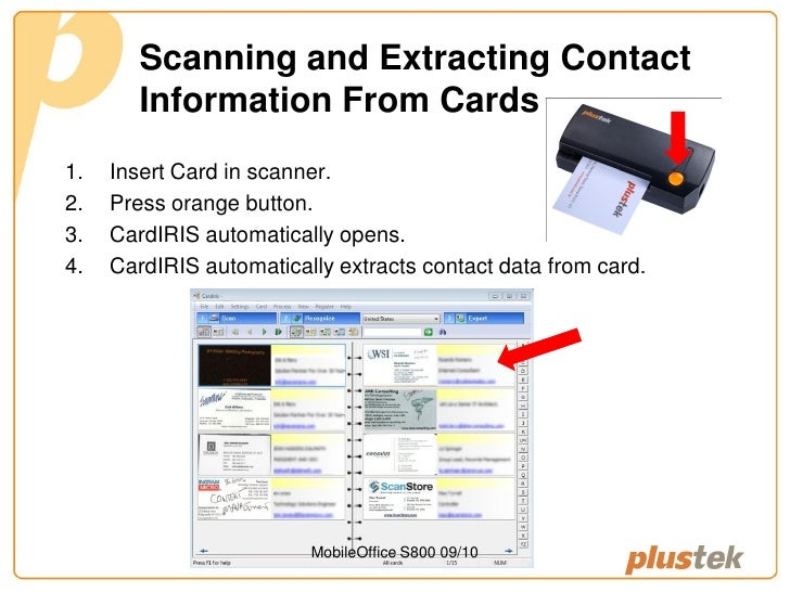 Plustek mobileoffice s800 business card scanner scanning and extracting contact information from cards reheart Choice Image