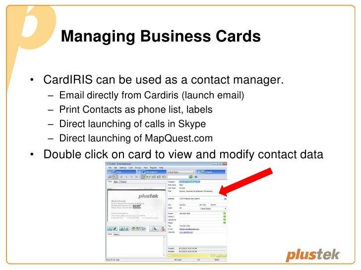 Plustek mobileoffice s800 business card scanner mobileoffice s800 0910 7 managing business cards reheart Choice Image