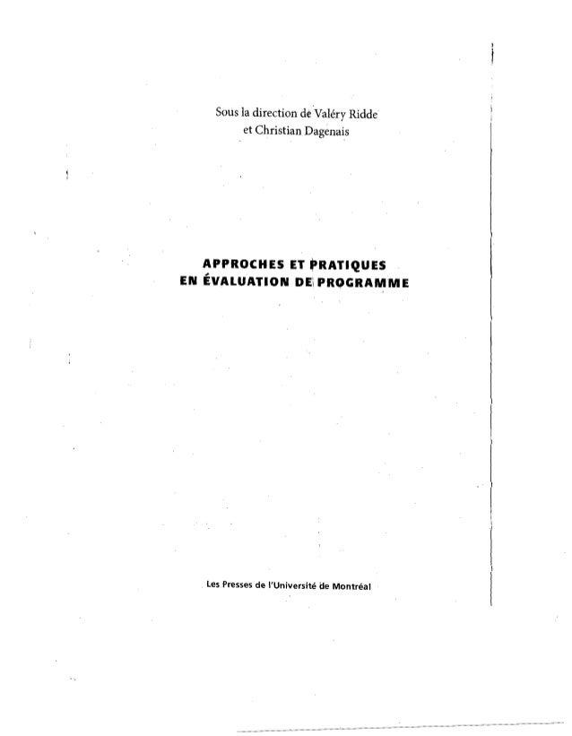 SOliS la direction de Valery Ridde et Christian Dagenais  APPROCHES ET fRATIQUES  ;.  EN EVALUATION DEi PROGRAMME  . les P...