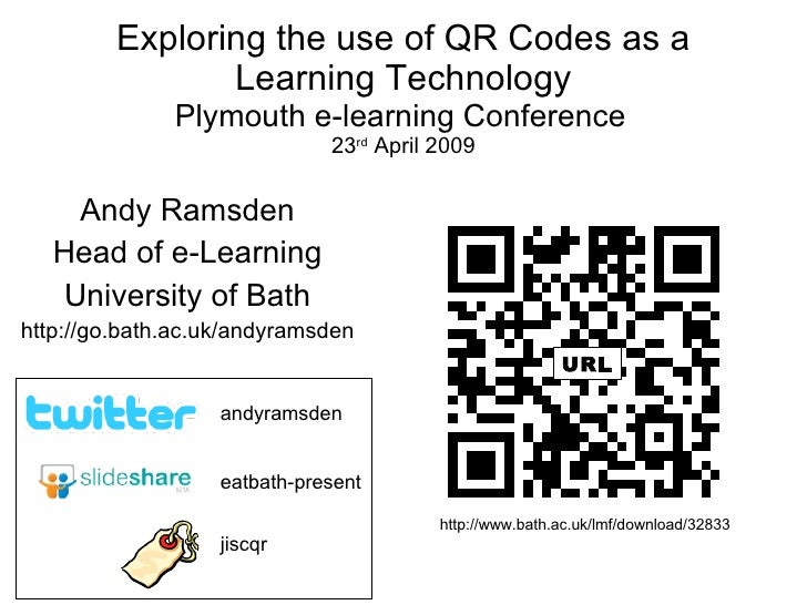 Exploring the use of QR Codes as a Learning Technology Plymouth e-learning Conference   23 rd  April 2009 Andy Ramsden Hea...