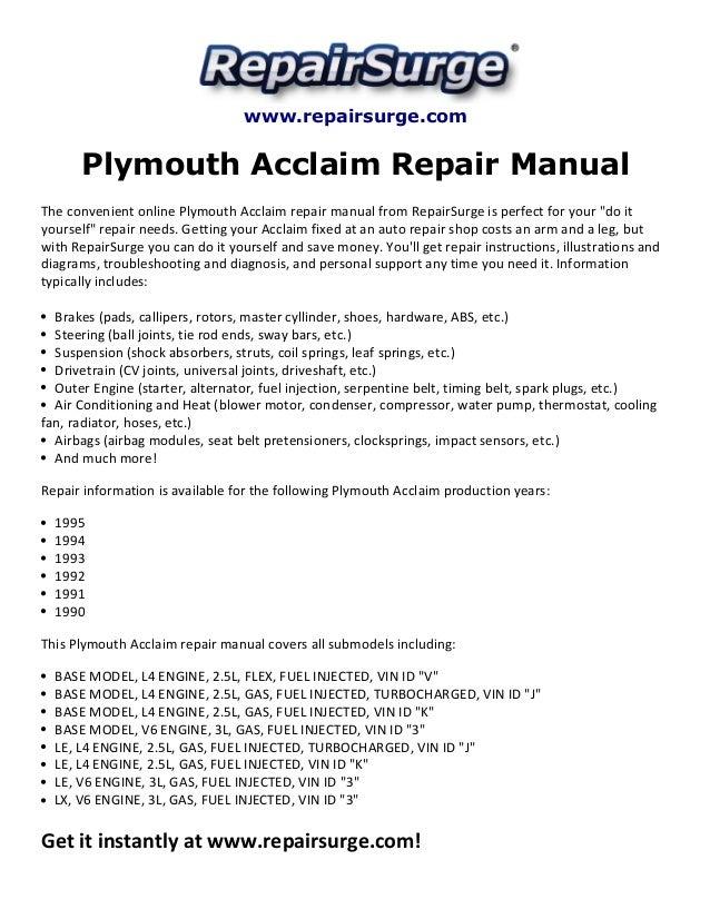 Plymouth Acclaim Repair Manual 1990 1995