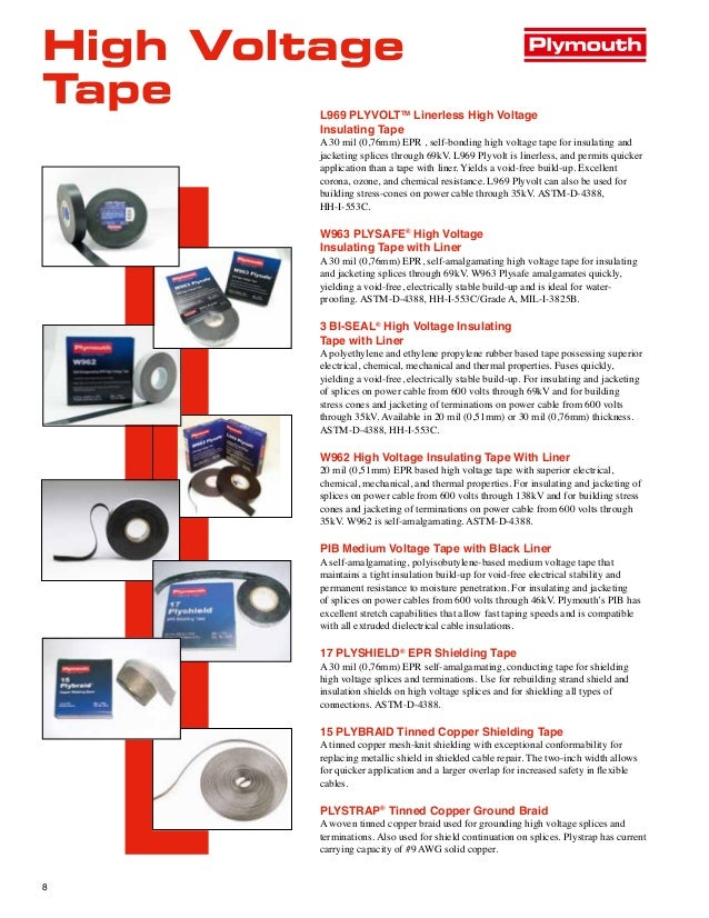 Plymouth Electrical Tapes Vinyl Tapes Rubber Tapes