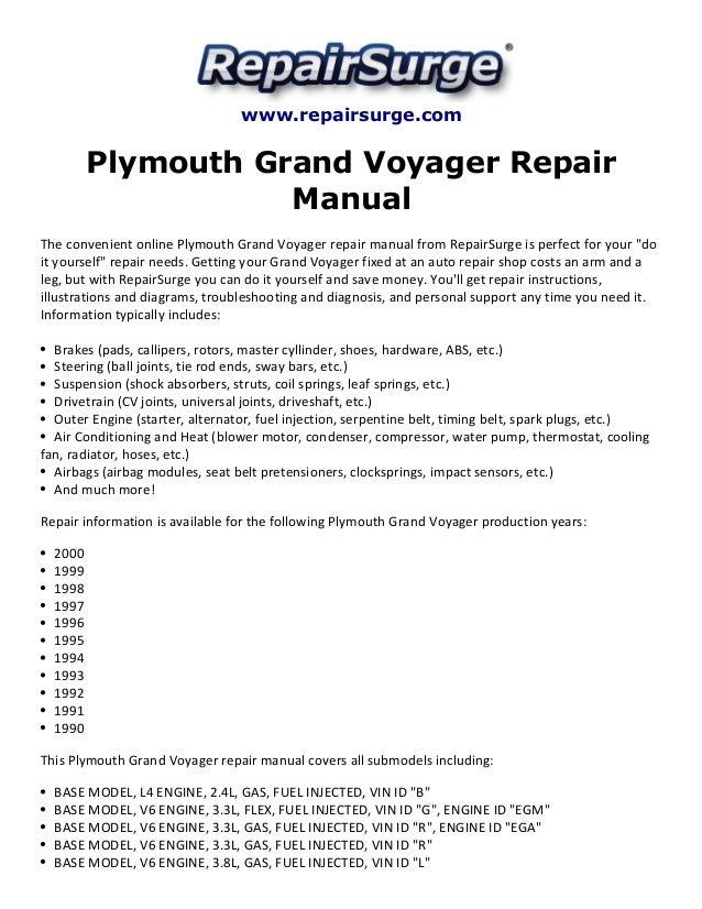 plymouth grand voyager repair manual 1990 2000 repairsurge com plymouth grand voyager repair manual the convenient online plymouth grand voyager