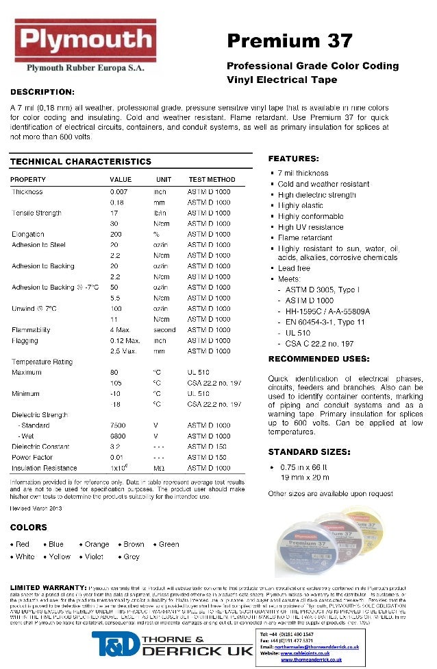 Plymouth Premium 37 Colour Coding Vinyl Plastic Electrical