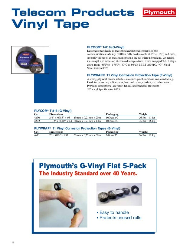Plymouth Telecom Electrical Tapes Insulating Mastics