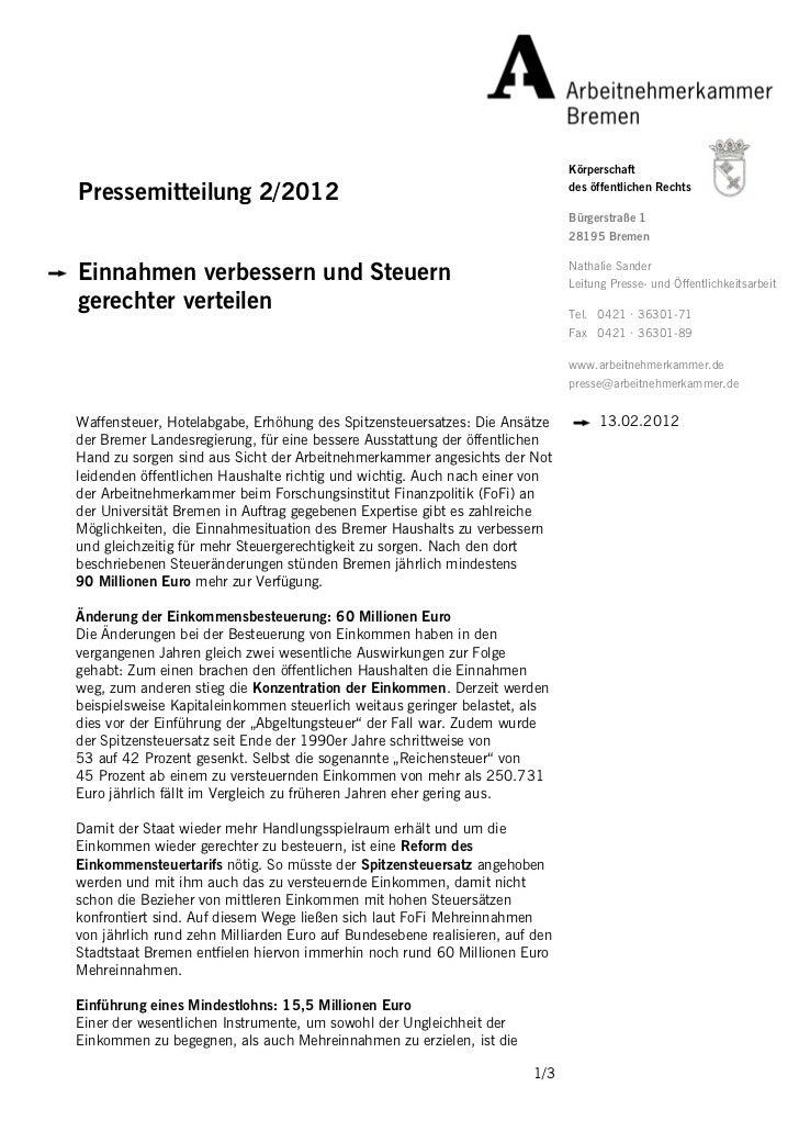 KörperschaftPressemitteilung 2/2012                                                       des öffentlichen Rechts         ...
