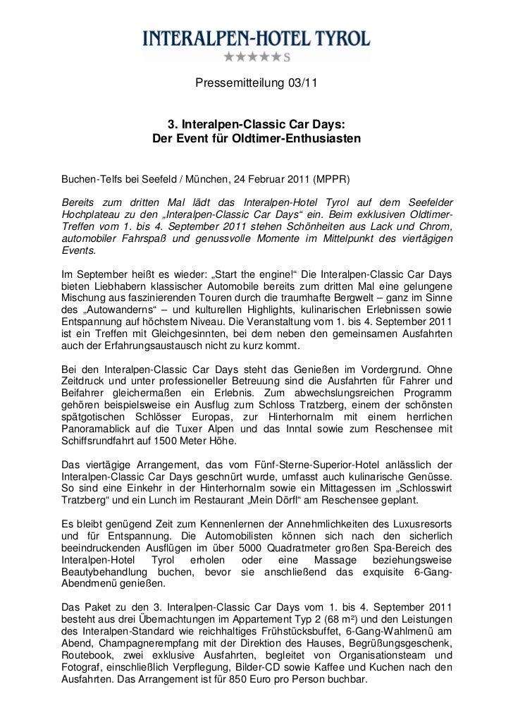 Pressemitteilung 03/11                    3. Interalpen-Classic Car Days:                  Der Event für Oldtimer-Enthusia...