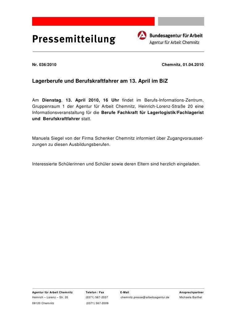 PressemitteilungNr. 036/2010                                                               Chemnitz, 01.04.2010Lagerberufe...