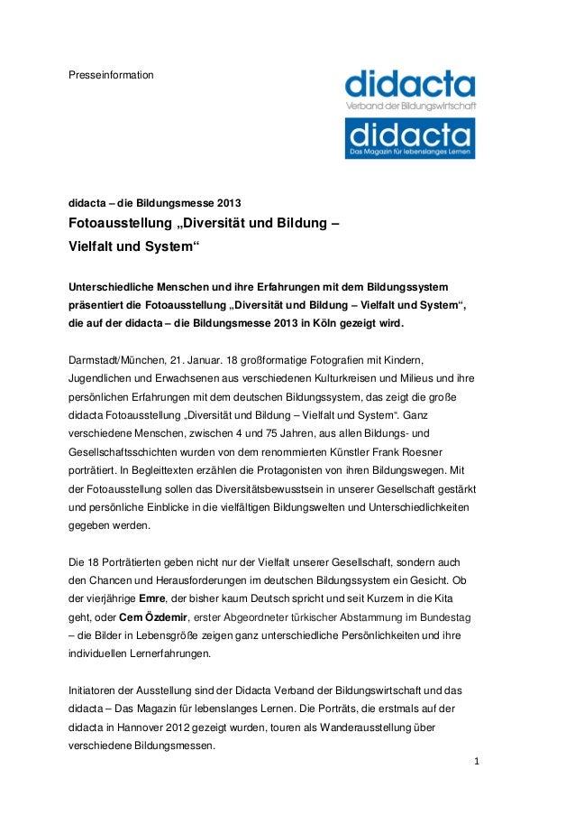 """Presseinformationdidacta – die Bildungsmesse 2013Fotoausstellung """"Diversität und Bildung –Vielfalt und System""""Unterschiedl..."""
