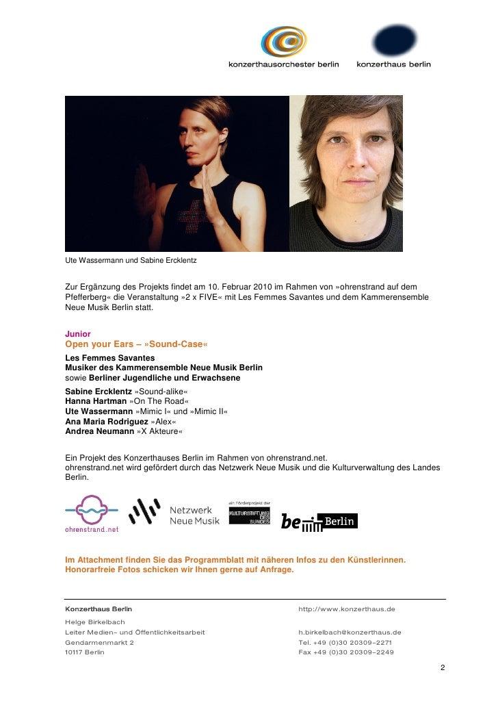Ute Wassermann und Sabine ErcklentzZur Ergänzung des Projekts findet am 10. Februar 2010 im Rahmen von »ohrenstrand auf de...
