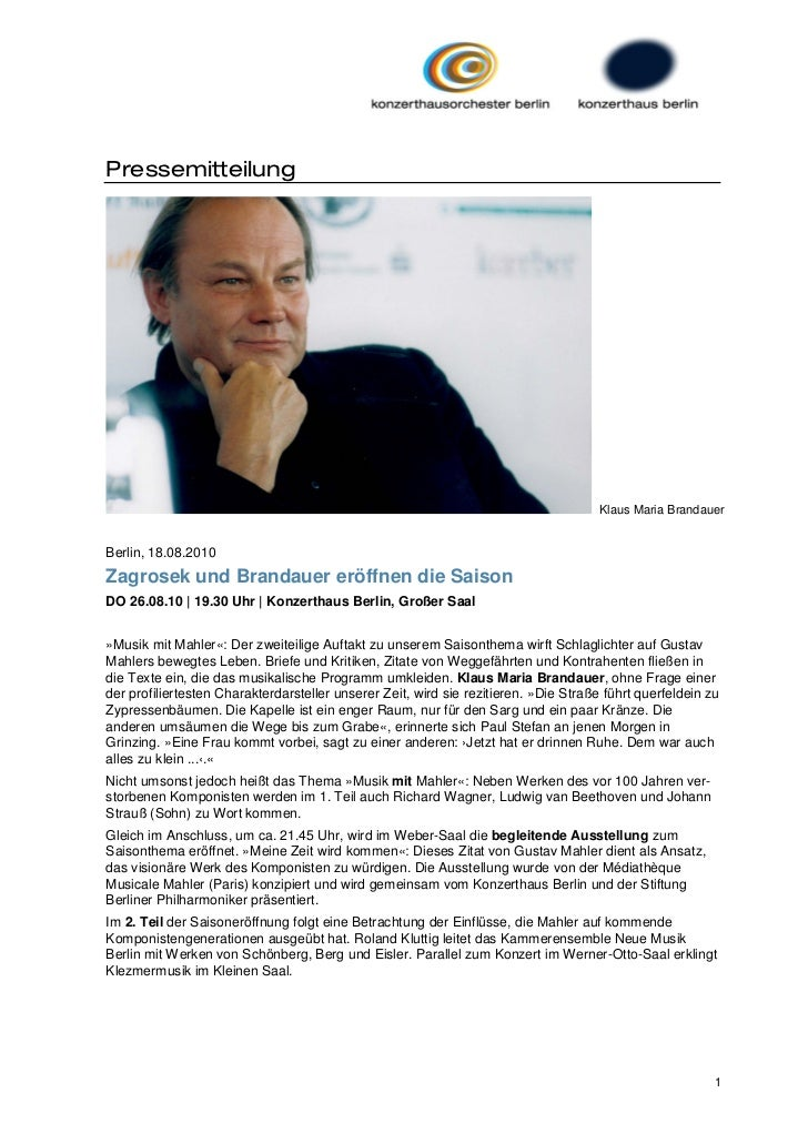 Pressemitteilung                                                                                      Klaus Maria Brandaue...