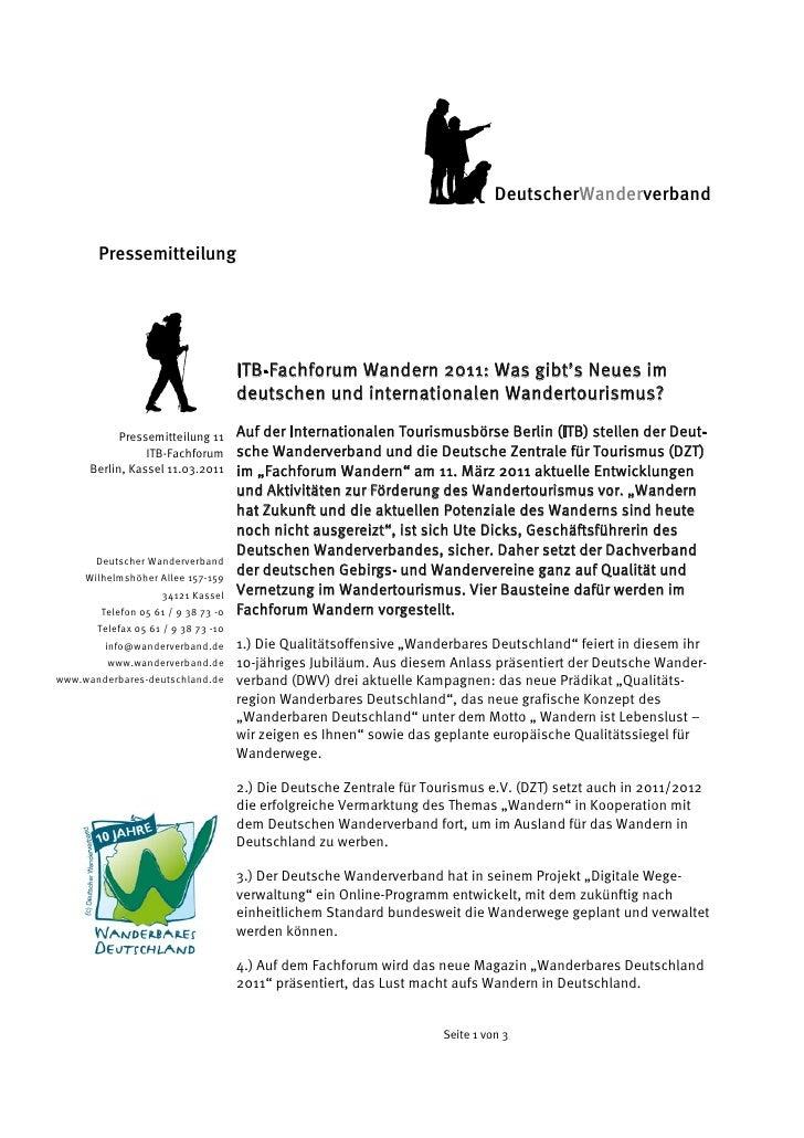 DeutscherWanderverband       Pressemitteilung                                     ITB-Fachforum Wandern 2011: Was gibt's ...