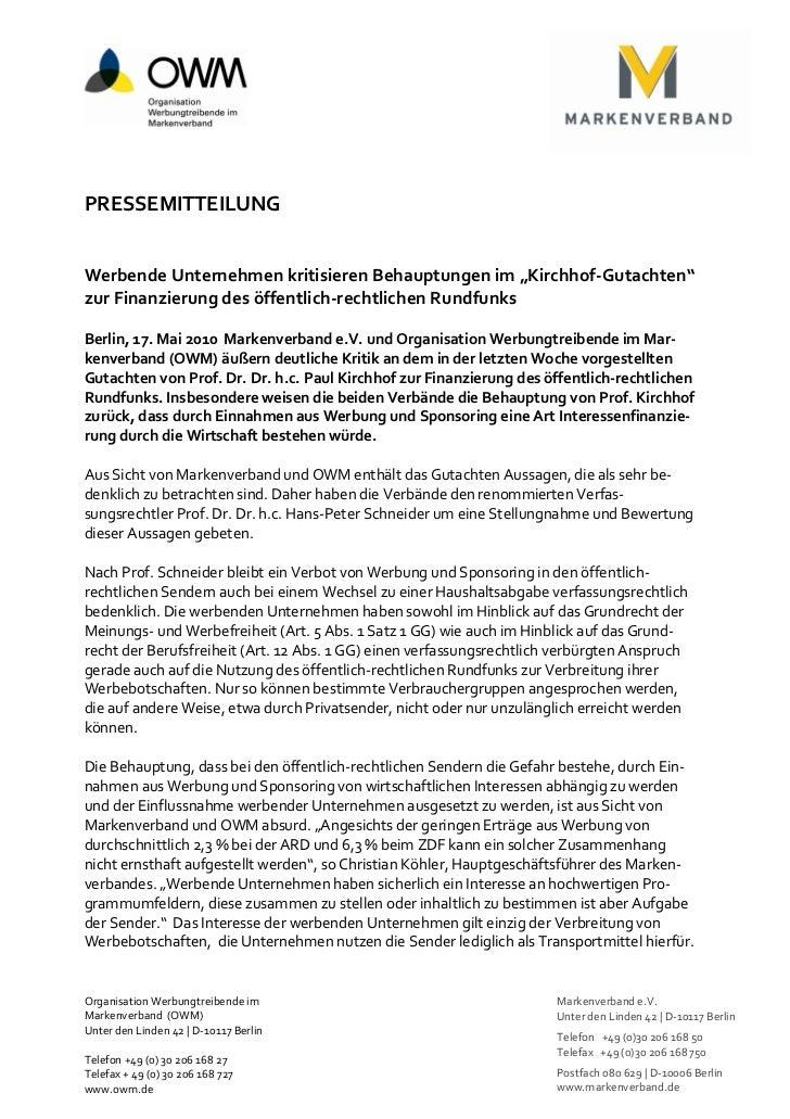 """PRESSEMITTEILUNGWerbende Unternehmen kritisieren Behauptungen im """"Kirchhof-Gutachten""""zur Finanzierung des öffentlich-recht..."""