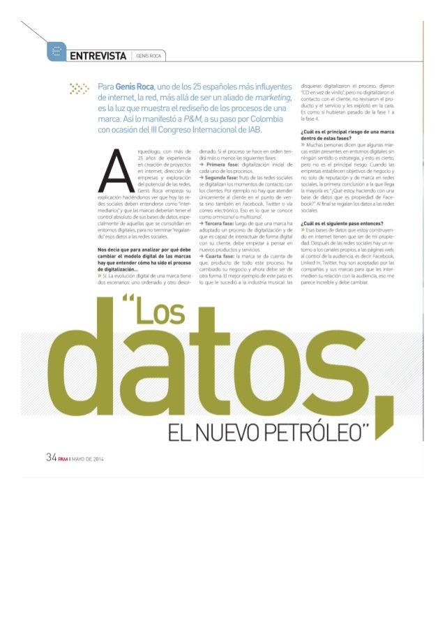 La revista P&M entrevista a Genís Roca
