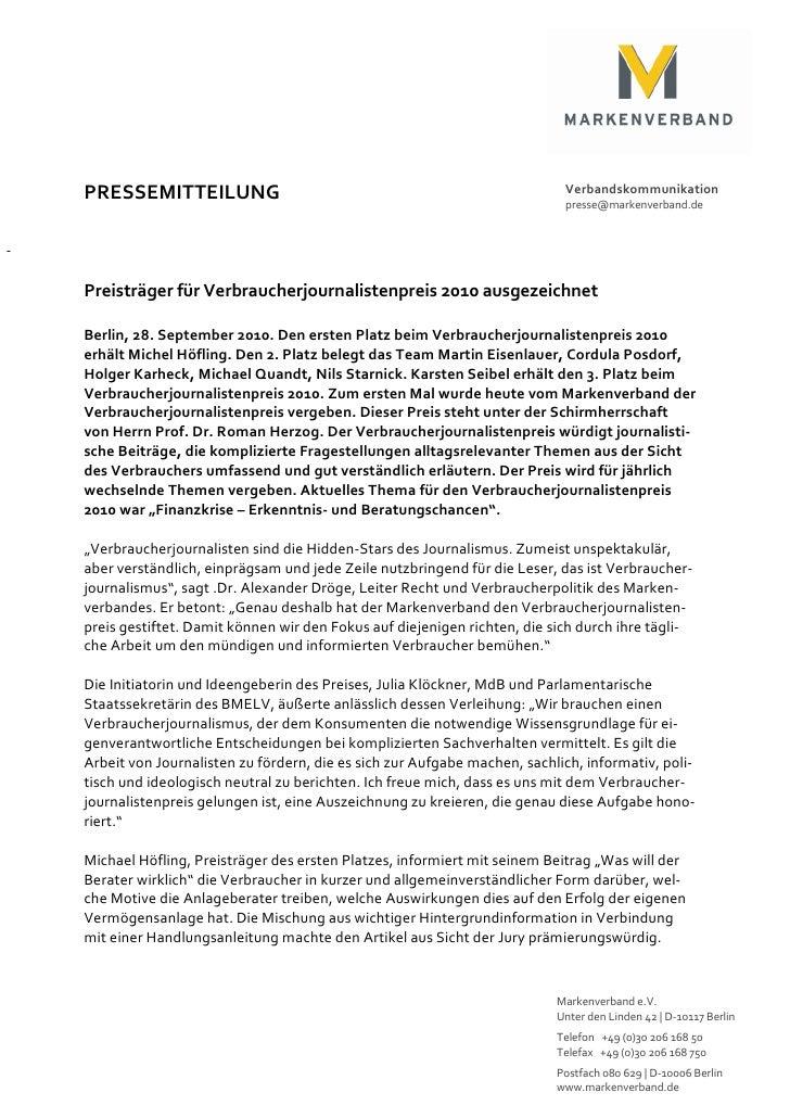 PRESSEMITTEILUNG                                                          Verbandskommunikation                           ...