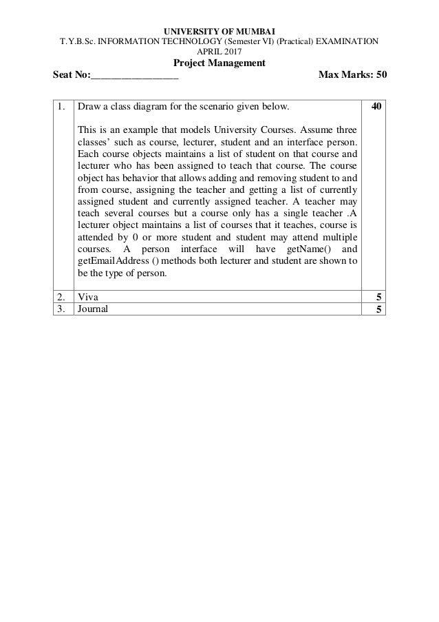 Project management 2017 slip question mum university university of mumbai tyb information technology semester vi practical examination ccuart Choice Image