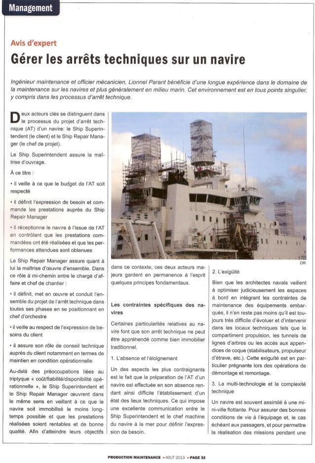 Pm août 2013 - Gérer les arrêts techniques des navires