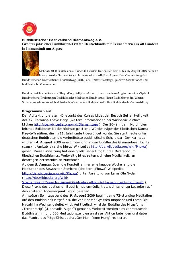 Buddhistischer Dachverband Diamantweg e.V. Größtes jährliches Buddhisten-Treffen Deutschlands mit Teilnehmern aus 40 Lände...