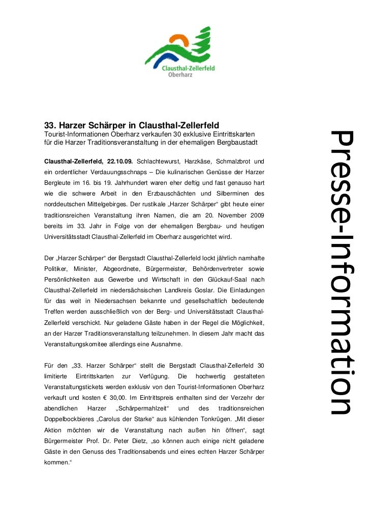33. Harzer Schärper in Clausthal-ZellerfeldTourist-Informationen Oberharz verkaufen 30 exklusive Eintrittskartenfür die Ha...