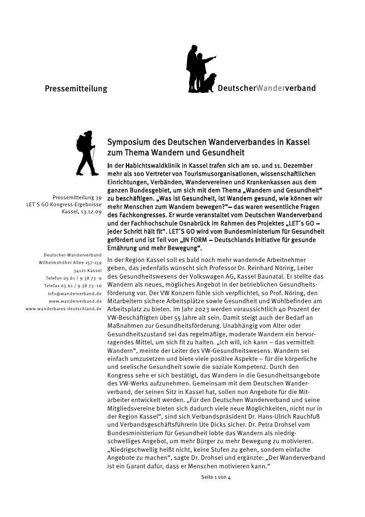 Pressemitteilung                                                     DeutscherWanderverband                               ...