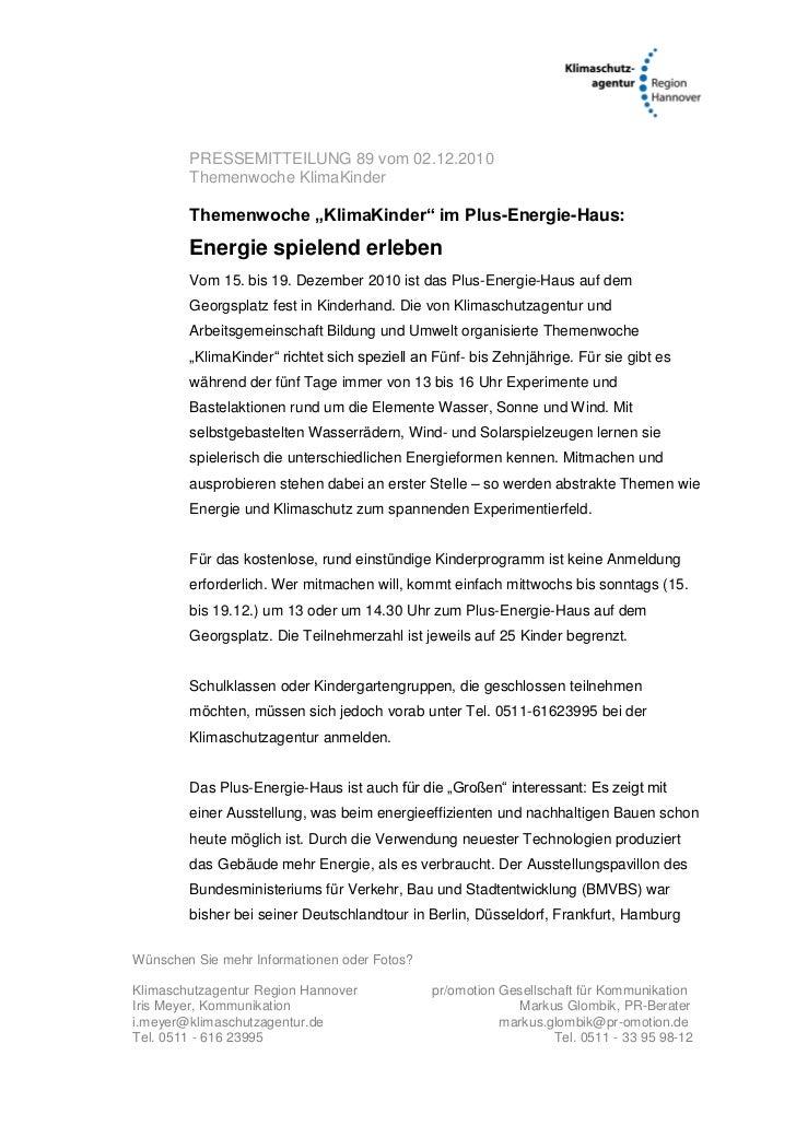 """PRESSEMITTEILUNG 89 vom 02.12.2010        Themenwoche KlimaKinder        Themenwoche """"KlimaKinder"""" im Plus-Energie-Haus:  ..."""