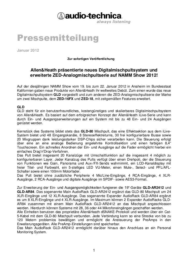 PressemitteilungJanuar 2012                               Zur sofortigen Veröffentlichung        Allen&Heath präsentierte ...