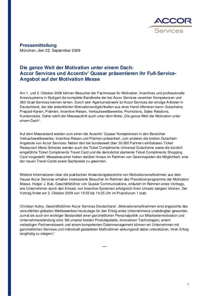 PressemitteilungMünchen, den 22. September 2009Die ganze Welt der Motivation unter einem Dach:Accor Services und Accentiv'...
