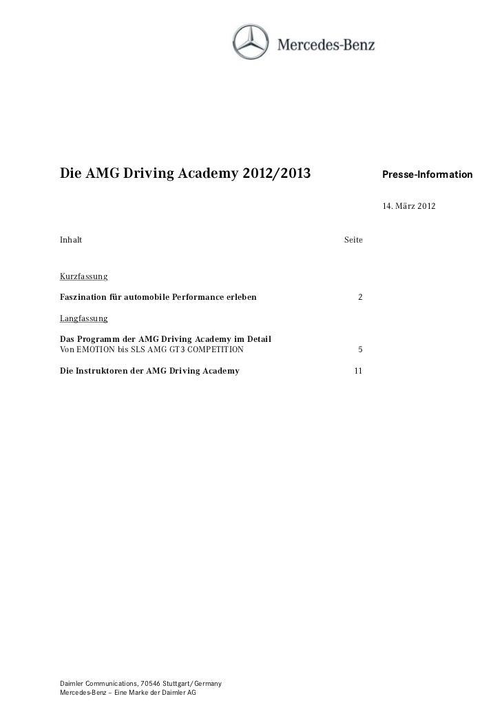 Die AMG Driving Academy 2012/2013                         Presse-Information                                              ...