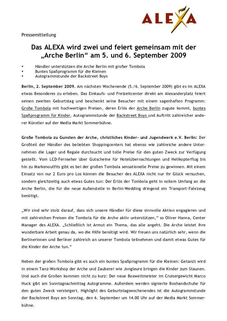 """Pressemitteilung    Das ALEXA wird zwei und feiert gemeinsam mit der       """"Arche Berlin"""" am 5. und 6. September 2009•    ..."""