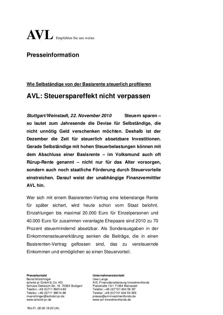 AVL                  Empfehlen Sie uns weiter.PresseinformationWie Selbständige von der Basisrente steuerlich profitierenA...