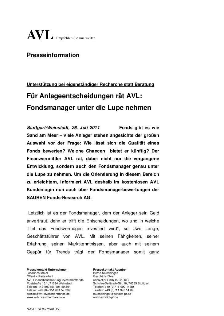 AVL                  Empfehlen Sie uns weiter.PresseinformationUnterstützung bei eigenständiger Recherche statt BeratungFü...