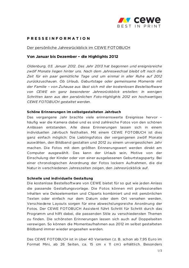 PRESSEINFORMATIONDer persönliche Jahresrückblick im CEWE FOTOBUCHVon Januar bis Dezember – die Highlights 2012Oldenburg, 0...