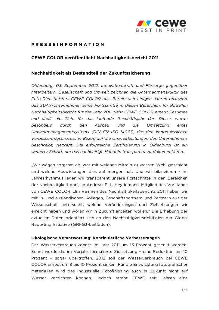 PRESSEINFORMATIONCEWE COLOR veröffentlicht Nachhaltigkeitsbericht 2011Nachhaltigkeit als Bestandteil der Zukunftssicherung...