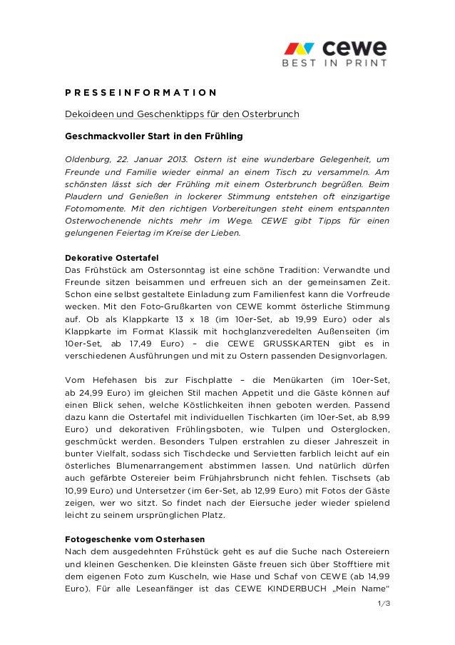 PRESSEINFORMATIONDekoideen und Geschenktipps für den OsterbrunchGeschmackvoller Start in den FrühlingOldenburg, 22. Januar...