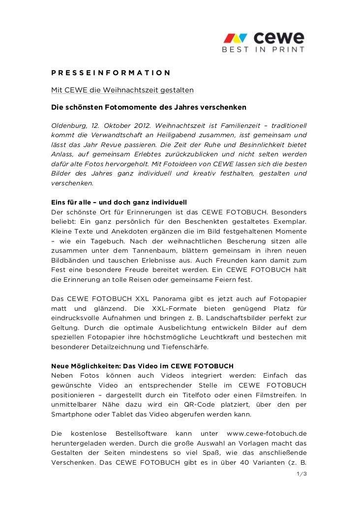 PRESSEINFORMATIONMit CEWE die Weihnachtszeit gestaltenDie schönsten Fotomomente des Jahres verschenkenOldenburg, 12. Oktob...