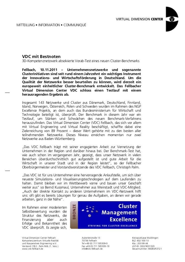MITTEILUNG • INFORMATION • COMMUNIQUÉ  VDC mit Bestnoten  3D-Kompetenznetzwerk absolvierte Vorab-Test eines neuen Cluster-...