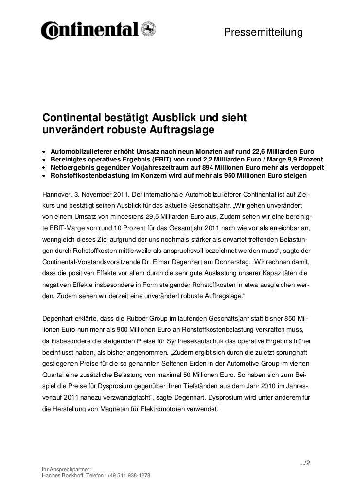 PressemitteilungContinental bestätigt Ausblick und siehtunverändert robuste Auftragslage   Automobilzulieferer erhöht Umsa...