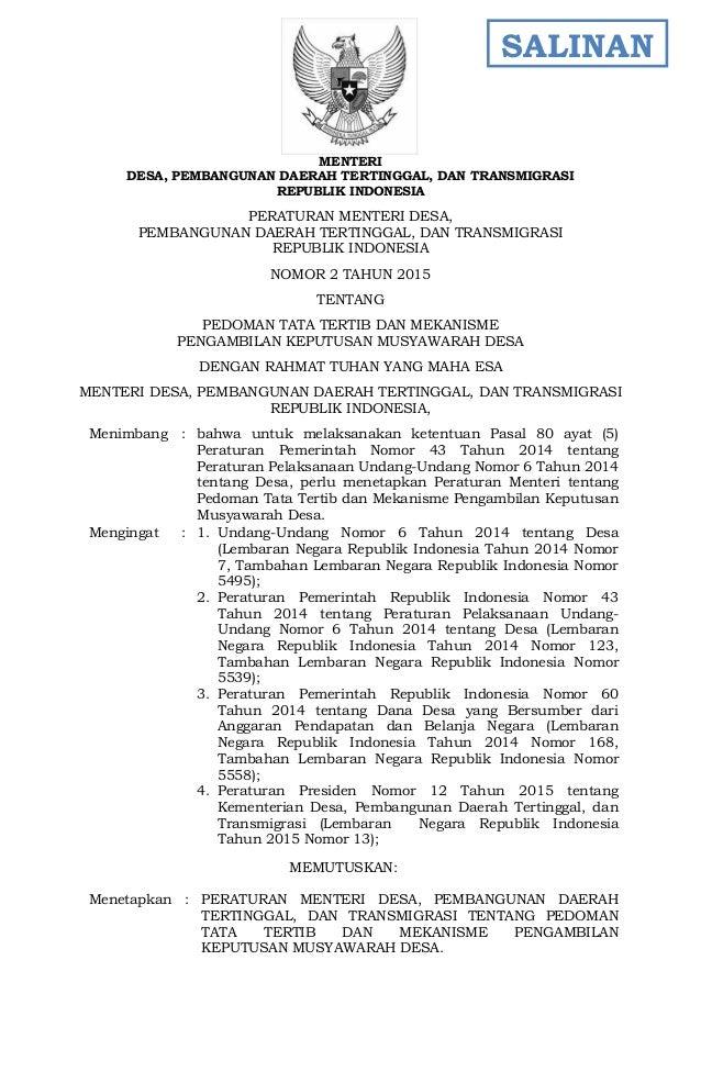 - 1 - MENTERI DESA, PEMBANGUNAN DAERAH TERTINGGAL, DAN TRANSMIGRASI REPUBLIK INDONESIA PERATURAN MENTERI DESA, PEMBANGUNAN...