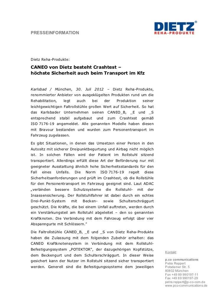 PRESSEINFORMATIONDietz Reha-Produkte:CANEO von Dietz besteht Crashtest –höchste Sicherheit auch beim Transport im KfzKarls...